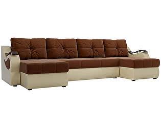 Купить диван Мебелико П-образный Меркурий рогожка коричневый/ эко кожа бежевый