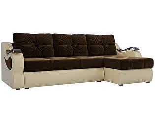 Купить диван Мебелико Меркурий микровельвет коричневый/ эко кожа бежевый