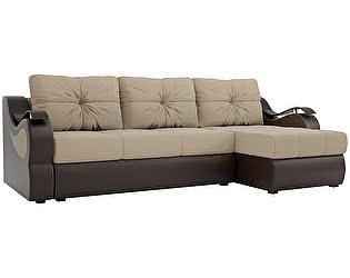 Купить диван Мебелико Меркурий рогожка бежевый/ эко кожа коричневый