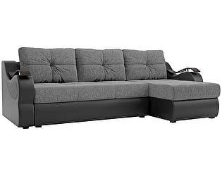 Купить диван Мебелико Меркурий рогожка серый/ эко кожа черный