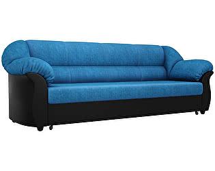 Купить диван Мебелико прямой Карнелла велюр голубой/эко кожа черный