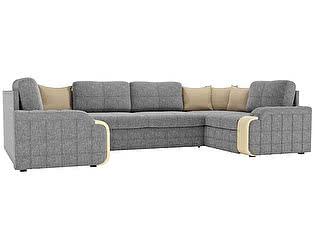 Купить диван Мебелико П-образный Николь рогожка эко кожа бежевый