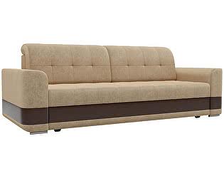 Купить диван Мебелико прямой Честер микровельвет бежевый/эко кожа коричневый