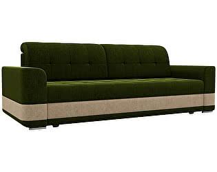 Купить диван Мебелико прямой Честер микровельвет зеленый/бежевый
