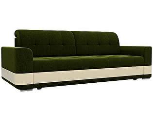 Купить диван Мебелико прямой Честер микровельвет зеленый/ эко кожа бежевый