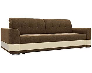 Купить диван Мебелико прямой Честер микровельвет коричневый/ эко кожа бежевый