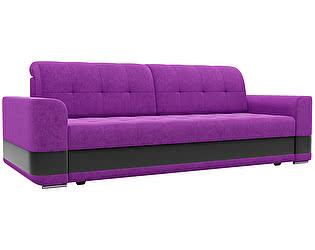 Купить диван Мебелико прямой Честер микровельвет фиолетовый/ эко кожа черный