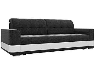 Купить диван Мебелико прямой Честер микровельвет черный/ эко кожа белый