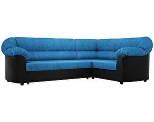 Купить диван Мебелико Карнелла велюр голубой/эко кожа черный