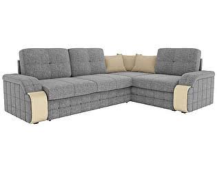Купить диван Мебелико Николь рогожка серый/эко кожа бежевый