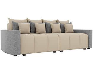 Купить диван Мебелико прямой Бристоль рогожка серые подлокотники