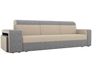 Купить диван Мебелико прямой Модена с двумя пуфами рогожка серые подлокотники