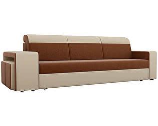 Купить диван Мебелико прямой Модена с двумя пуфами рогожка бежевые подлокотники