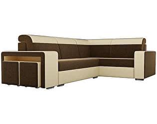Купить диван Мебелико Угловой диван Модена с двумя пуфами микровельвет коричневый/эко кожа бежевый