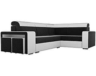 Купить диван Мебелико Угловой диван Модена с двумя пуфами микровельвет черный/ эко кожа белый