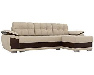 Купить диван Мебелико Нэстор рогожка бежевый/эко кожа коричневый