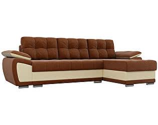 Купить диван Мебелико Нэстор рогожка коричневый/эко кожа бежевый