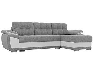 Купить диван Мебелико Нэстор рогожка серый/эко кожа белый