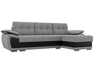 Купить диван Мебелико Нэстор рогожка серый/эко кожа черный
