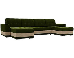 Купить диван Мебелико П-образный Честер микровельвет зеленый/бежевый