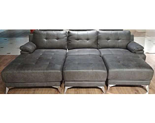 Купить диван МИК Мебель MK-4709-GRF с оттоманкой правой Серый