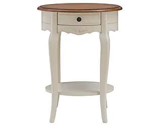 Купить стол МИК Мебель кофейный овальный Florence MK-5037-AWB Молочный/Итальянский орех