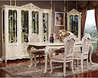 Купить шкаф МИК Мебель Витрина 4-дверная MK-2720-WG Молочный с золотом