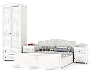 Купить спальню Мебельный Двор Онега Компоновка 06 ШК-32 + ТП-1 + КР-1400 + ТП-1