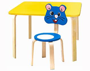 Купить стол Polli Tolli Комплект детской мебели Мордочки с желтым столиком