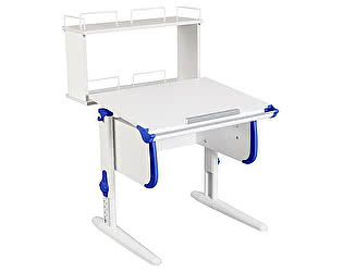Купить стол Дэми WHITE СТАНДАРТ СУТ-24-01Д с задней двухъярусной приставкой