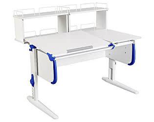 Купить стол Дэми СУТ-25-01Д2  WHITE DOUBLE с раздельной столешницей и двумя задними двухярусными приставка