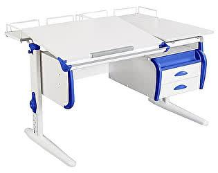 Купить стол Дэми СУТ-25-04 WHITE DOUBLE с раздельной столешницей, двумя задними приставками и подвесной ту
