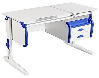Купить стол Дэми СУТ-25-03 WHITE DOUBLE с раздельной столешницей и подвесной тумбой