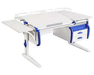 Купить стол Дэми СУТ-25-05 WHITE DOUBLE с раздельной столешницей, подвесной тумбой, боковой и двумя задним