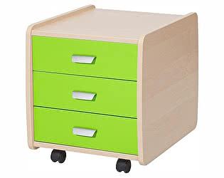 Купить тумбу Астек Лидер береза на 3 ящика с цветными фасадами