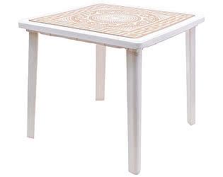 Купить стол Стандарт Пластик квадратный с деколем Греческий орнамент