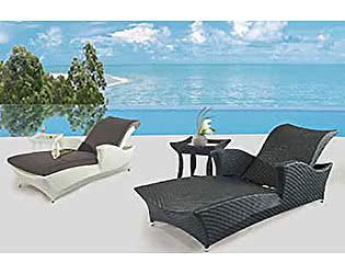 Купить комплект садовой мебели Rotang Lux Лежак Скайлайн со столиком