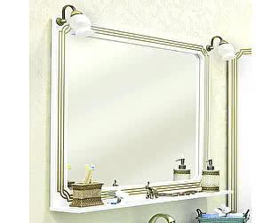 Купить зеркало Sanflor Каир 120 белое, золотая патина