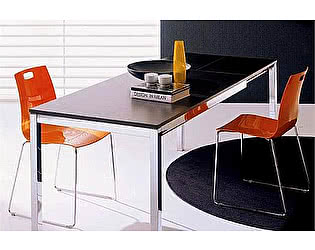 Купить стол M-City MAGO (01.35) 120/180х80хН75 см (М089/ M089/ С152 черн.глянц.ст+L072 ал)