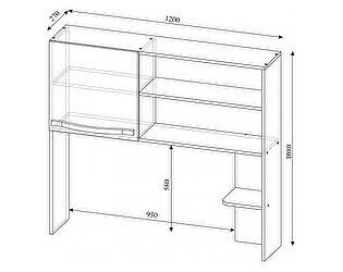 Купить надстройку SV-мебель Алекс-1 для стола (шимо темный / шимо светлый)