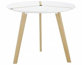 Купить стол M-City PEONY D90 белый/массив бука