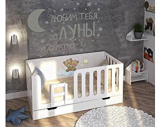 Купить кровать Фанки Кидз Домик Сказка ДС-10/1 без ящика  (белый/фотопечать) низкая