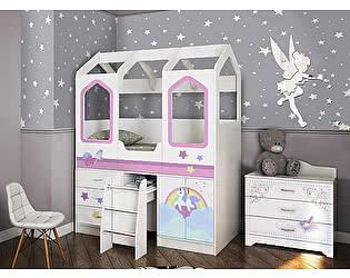 Купить кровать Фанки Кидз чердак Домик Сказка ДС-14 с лесенкой (фотопечать)