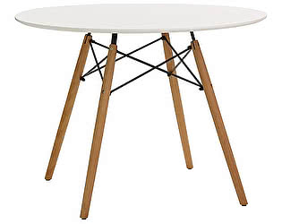 Купить стол M-City SNOWDROP D100 белый/массив бука
