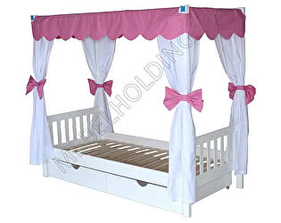 Купить кровать Мебель Холдинг Росинка (эмаль белая) с навесом