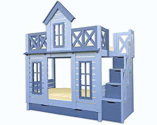 Купить кровать Велес-Арт Терем Люкс с лестницей 2х ярусная