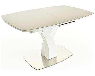 Купить стол Mebwill Нотр-Дам (белый, стекло капучино)