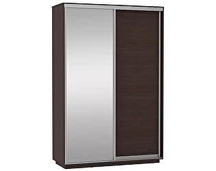 Купить шкаф Е 1 купе 2-х дверный (ДСП/Белое стекло)