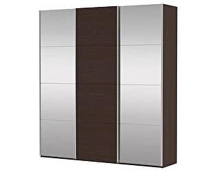Купить шкаф Е 1 купе 3-х дверный (Белое стекло/ДСП/Белое стекло)